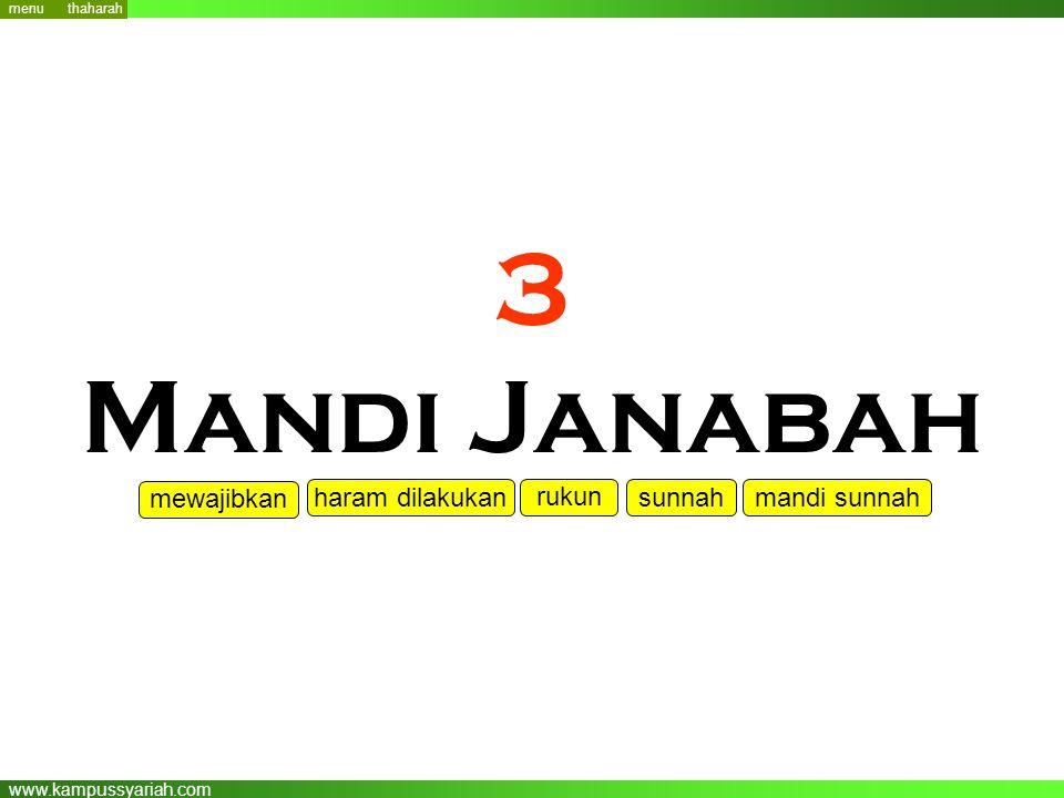 3 Mandi Janabah mewajibkan haram dilakukan rukun sunnah mandi sunnah
