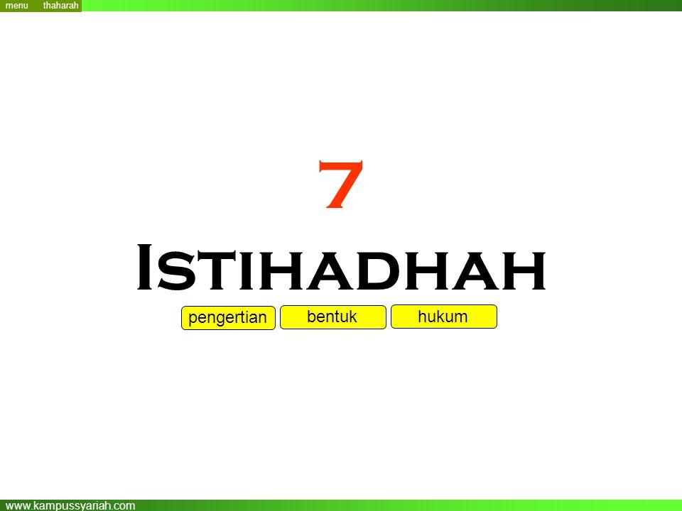 menu thaharah 7 Istihadhah pengertian bentuk hukum