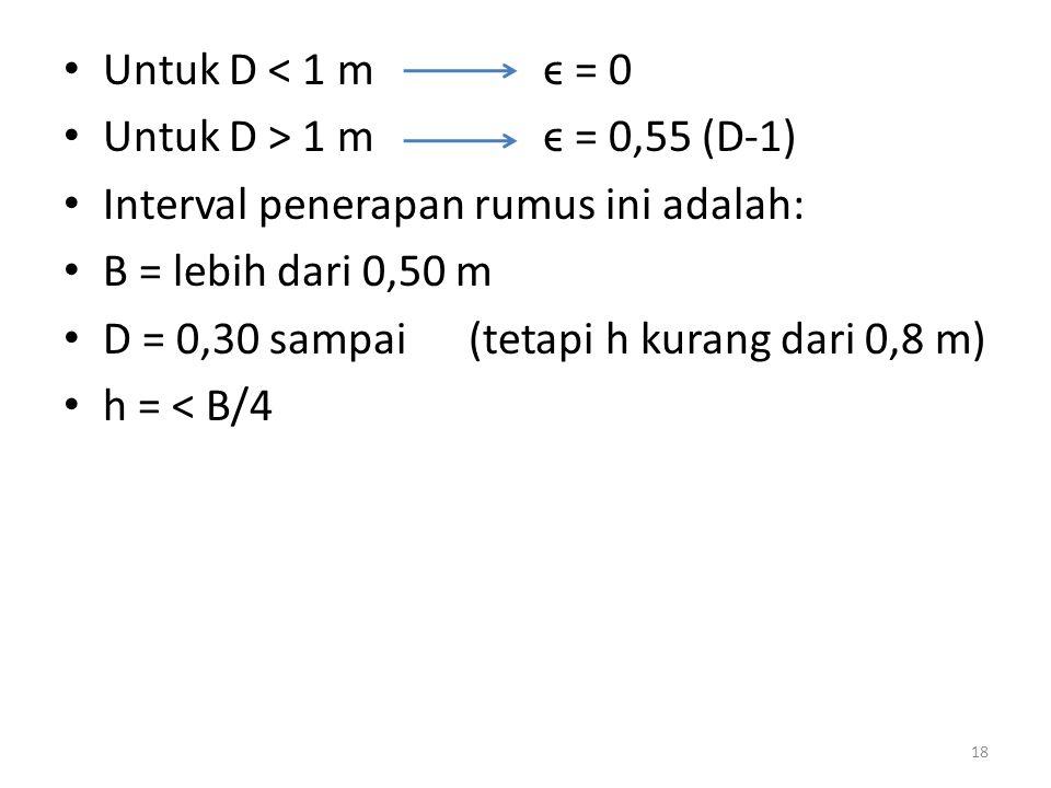 Untuk D < 1 m ϵ = 0 Untuk D > 1 m ϵ = 0,55 (D-1) Interval penerapan rumus ini adalah: