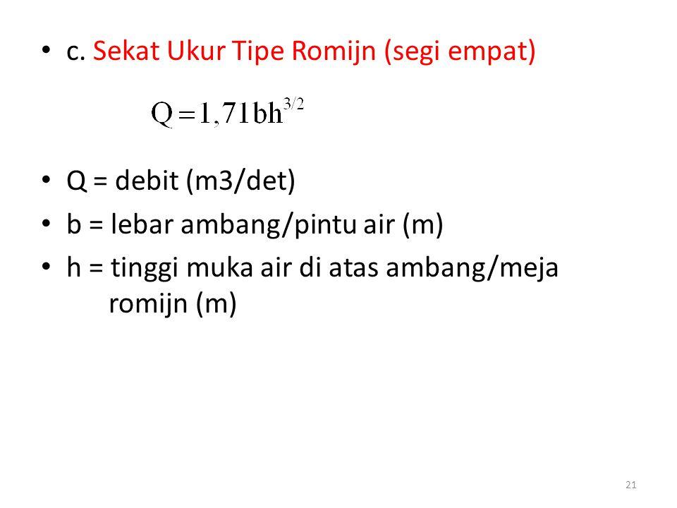 c. Sekat Ukur Tipe Romijn (segi empat)