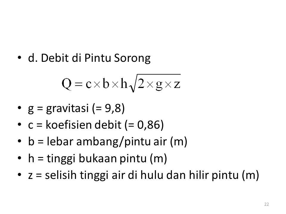 d. Debit di Pintu Sorong g = gravitasi (= 9,8) c = koefisien debit (= 0,86) b = lebar ambang/pintu air (m)