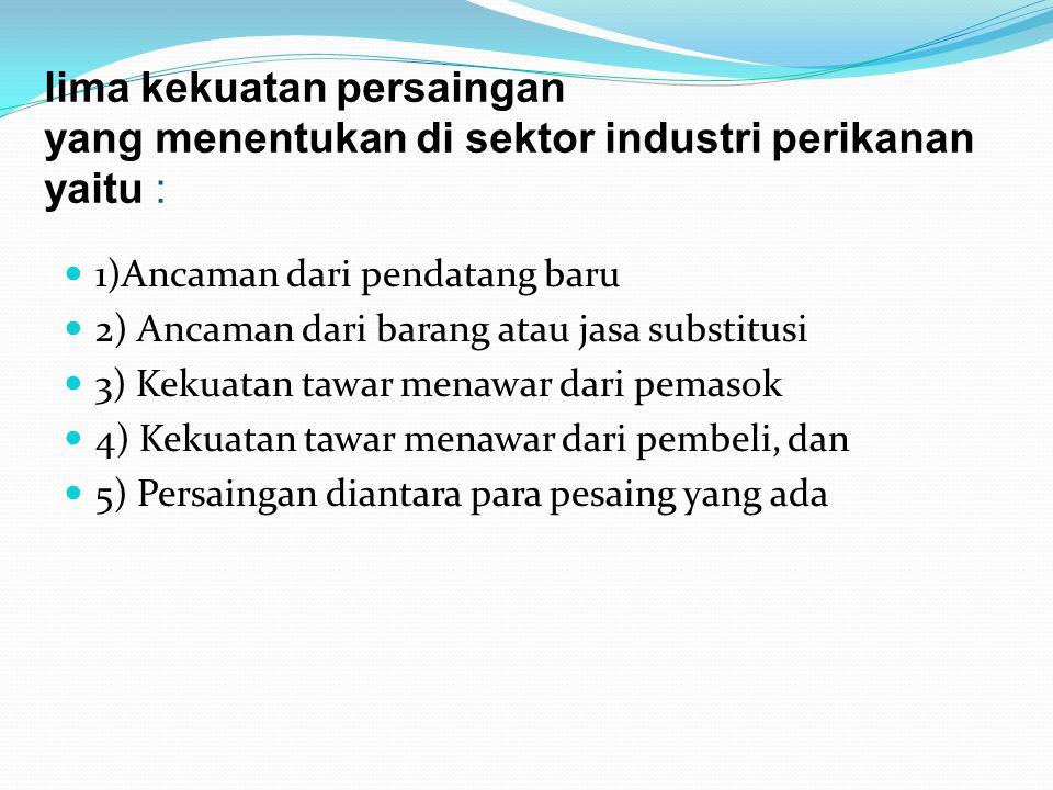 lima kekuatan persaingan yang menentukan di sektor industri perikanan yaitu :
