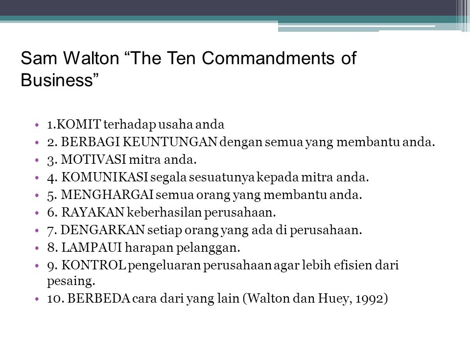 Sam Walton The Ten Commandments of Business