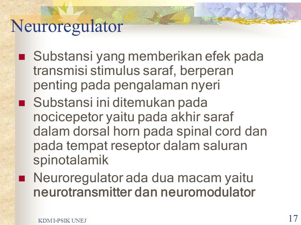 Neuroregulator Substansi yang memberikan efek pada transmisi stimulus saraf, berperan penting pada pengalaman nyeri.