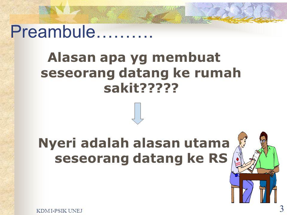Preambule………. Alasan apa yg membuat seseorang datang ke rumah sakit Nyeri adalah alasan utama seseorang datang ke RS.