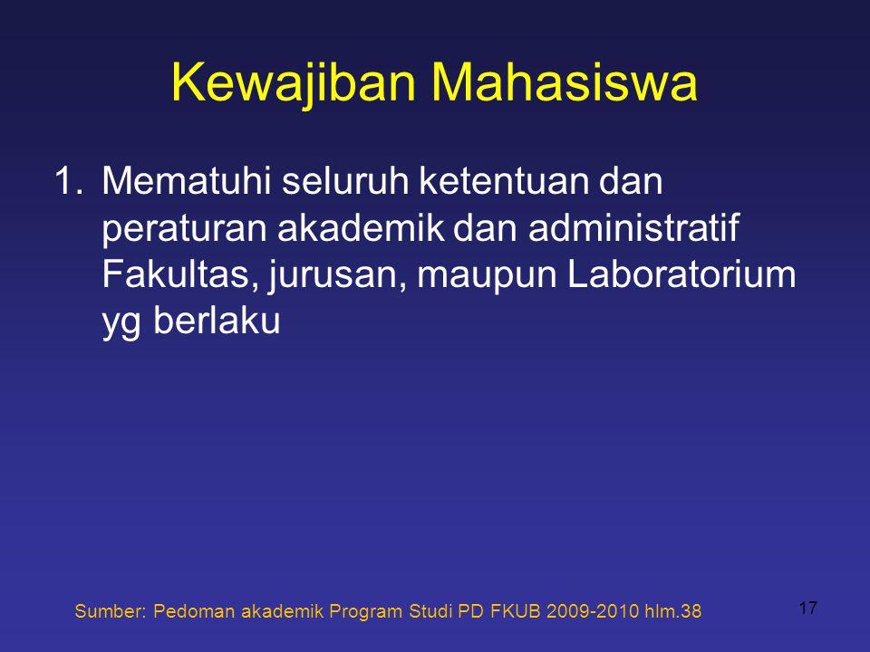 Kewajiban Mahasiswa Mematuhi seluruh ketentuan dan peraturan akademik dan administratif Fakultas, jurusan, maupun Laboratorium yg berlaku.