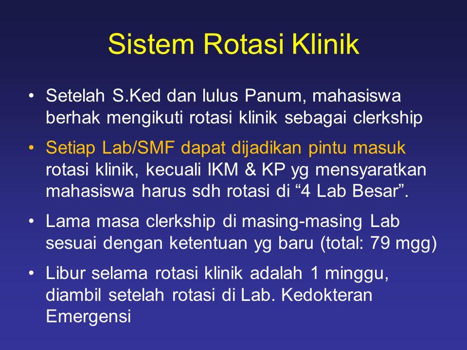 Sistem Rotasi Klinik Setelah S.Ked dan lulus Panum, mahasiswa berhak mengikuti rotasi klinik sebagai clerkship.