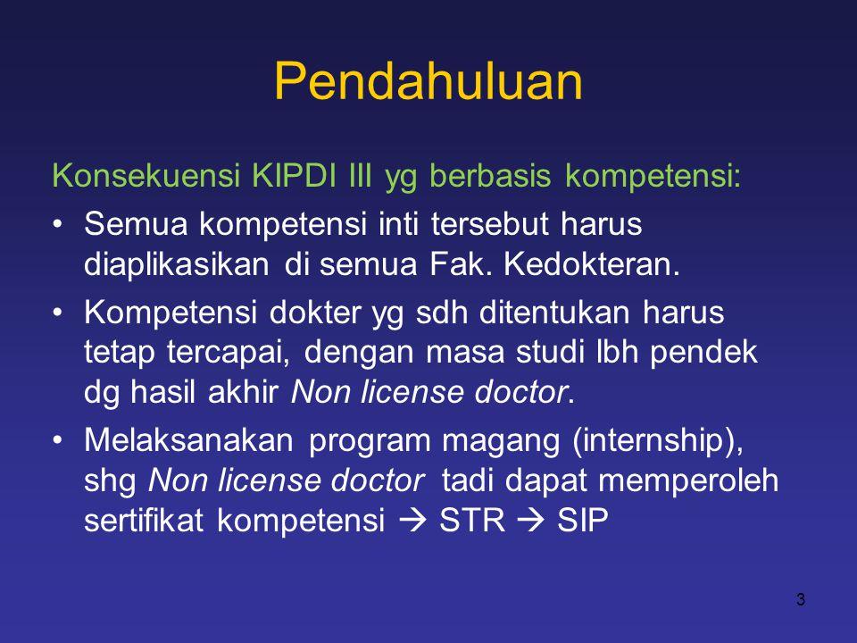 Pendahuluan Konsekuensi KIPDI III yg berbasis kompetensi: