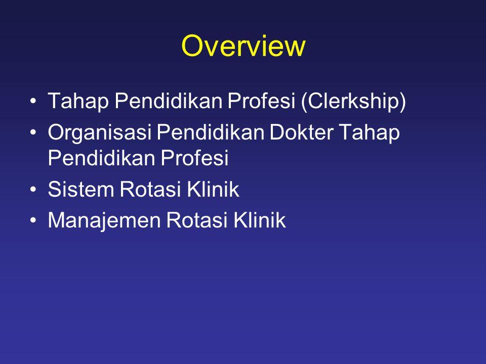 Overview Tahap Pendidikan Profesi (Clerkship)