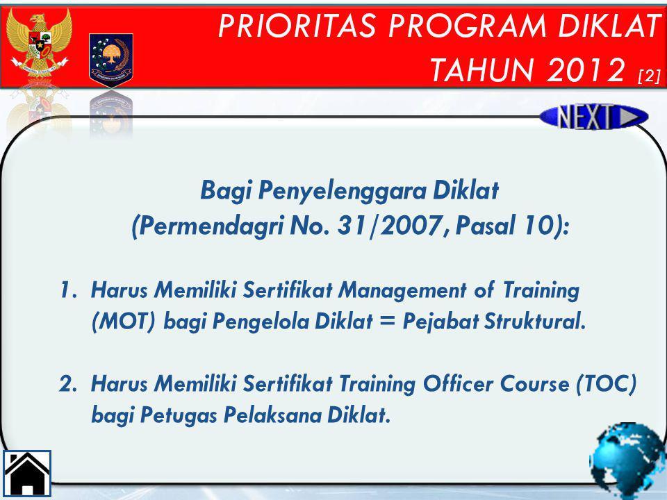 Bagi Penyelenggara Diklat (Permendagri No. 31/2007, Pasal 10):