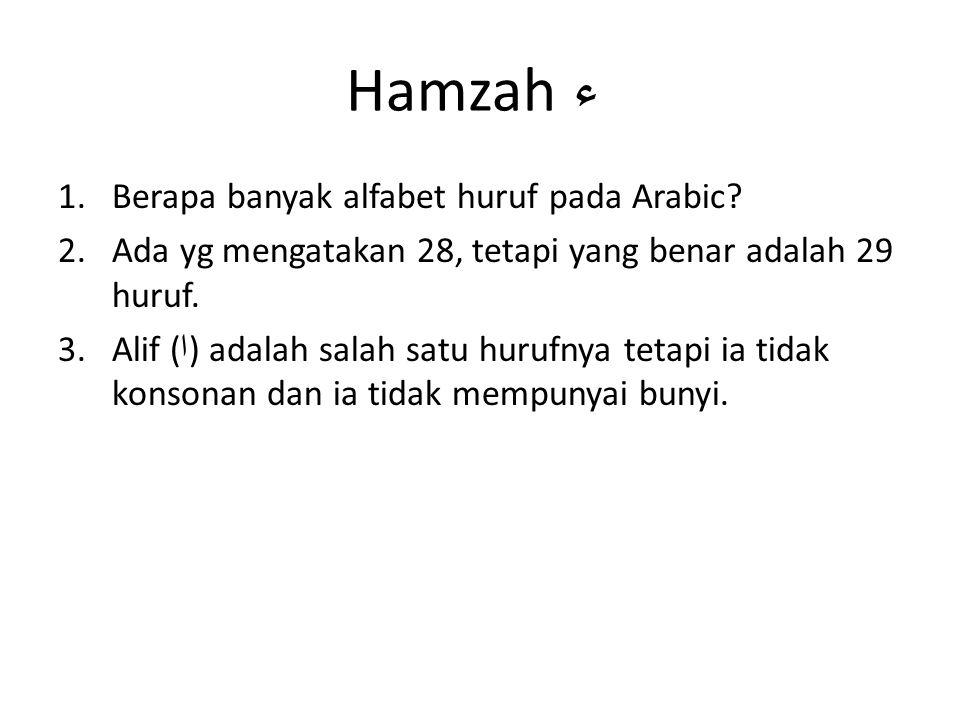 Hamzah ء Berapa banyak alfabet huruf pada Arabic