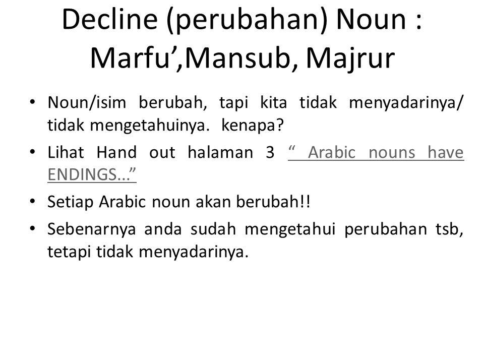 Decline (perubahan) Noun : Marfu',Mansub, Majrur