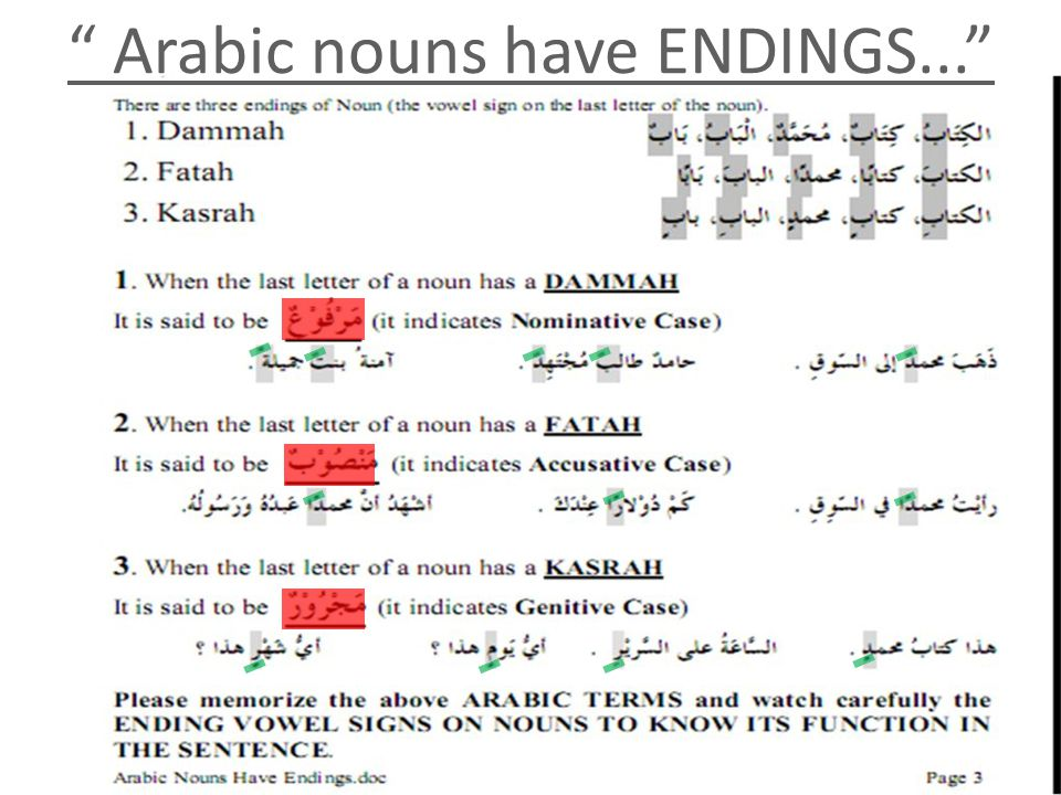 Arabic nouns have ENDINGS...