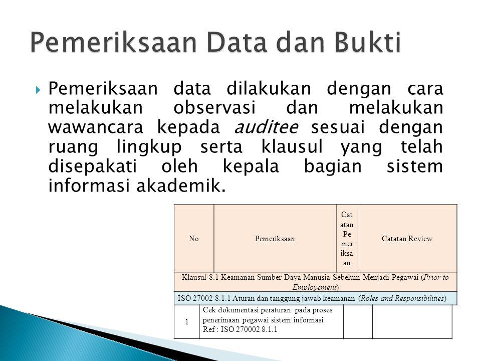 Pemeriksaan Data dan Bukti