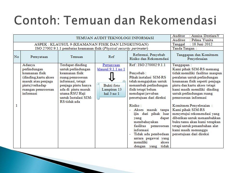 Contoh: Temuan dan Rekomendasi