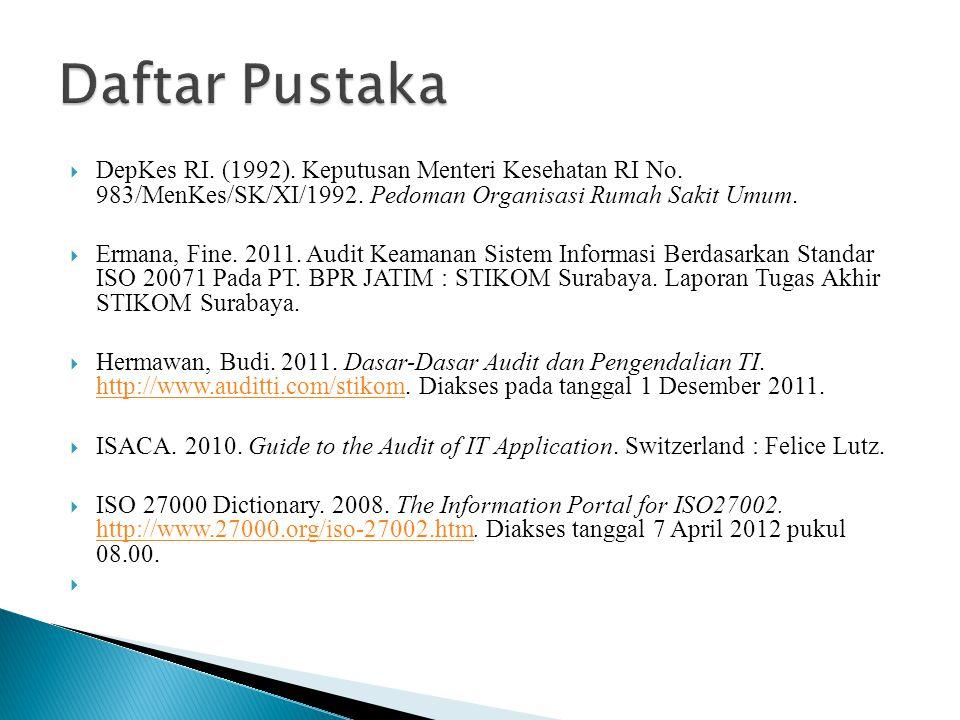 Daftar Pustaka DepKes RI. (1992). Keputusan Menteri Kesehatan RI No. 983/MenKes/SK/XI/1992. Pedoman Organisasi Rumah Sakit Umum.