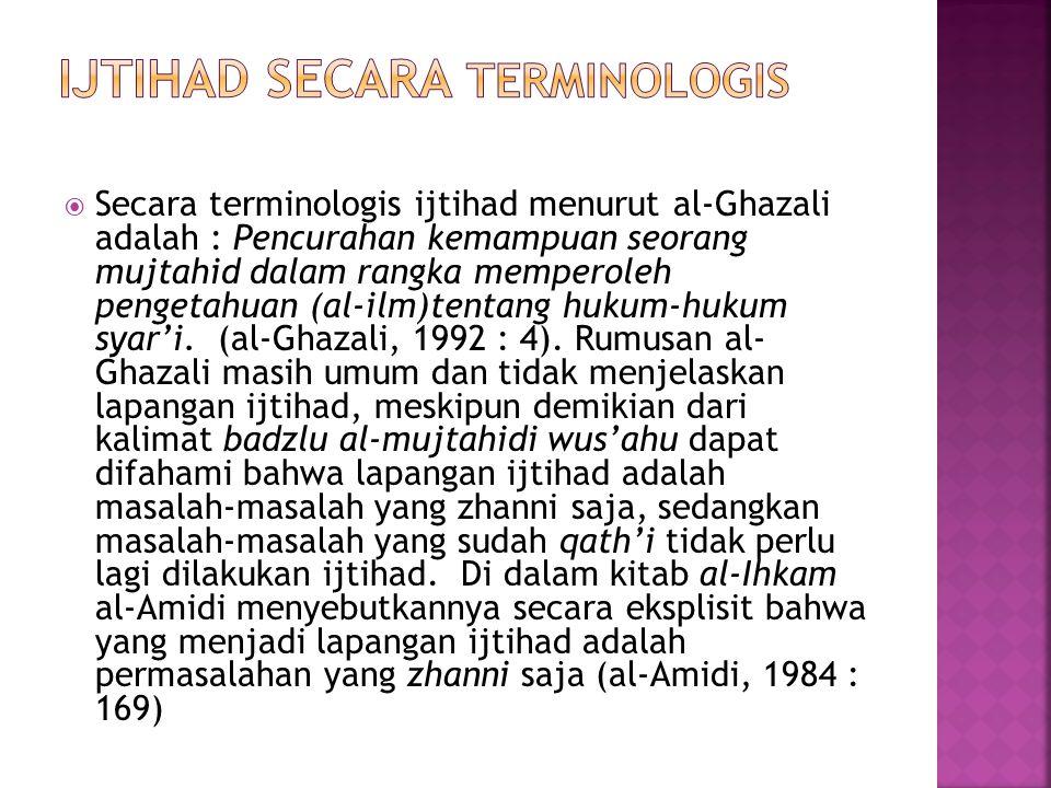 Ijtihad Secara terminologis