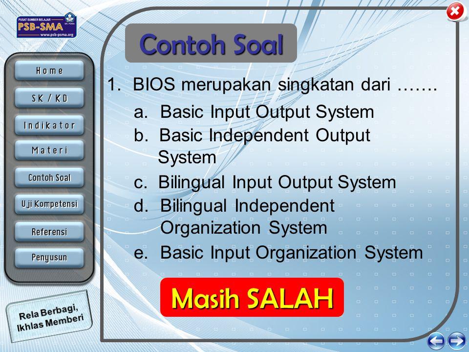 Contoh Soal Masih SALAH Anda BENAR BIOS merupakan singkatan dari …….