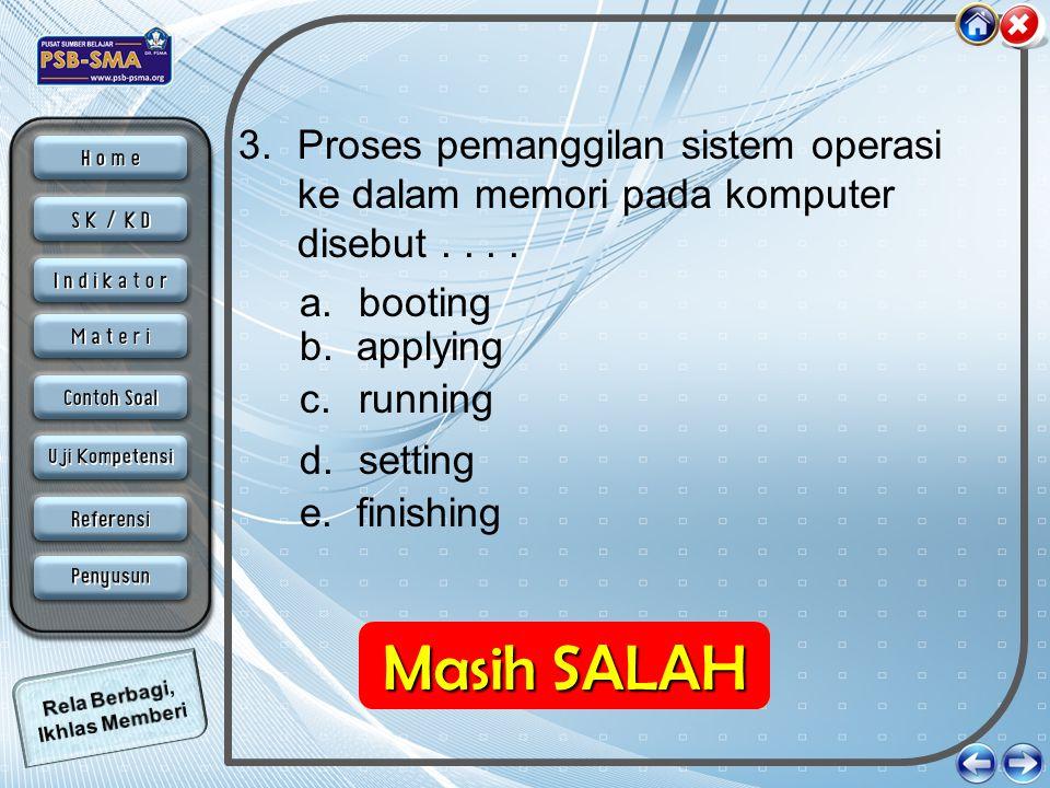 Proses pemanggilan sistem operasi ke dalam memori pada komputer disebut . . . .