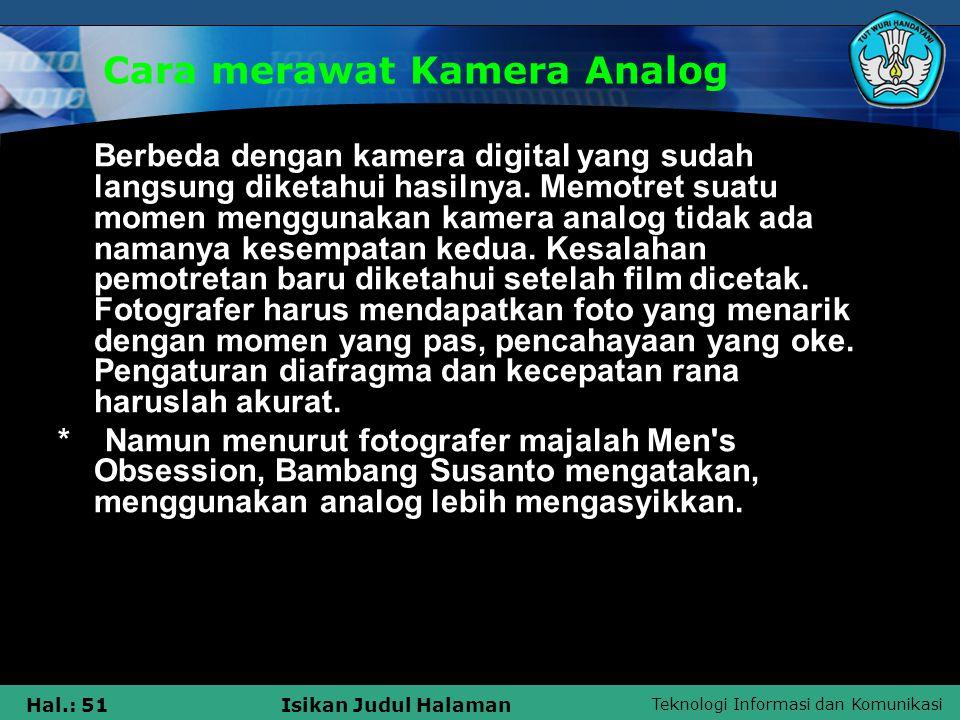Cara merawat Kamera Analog