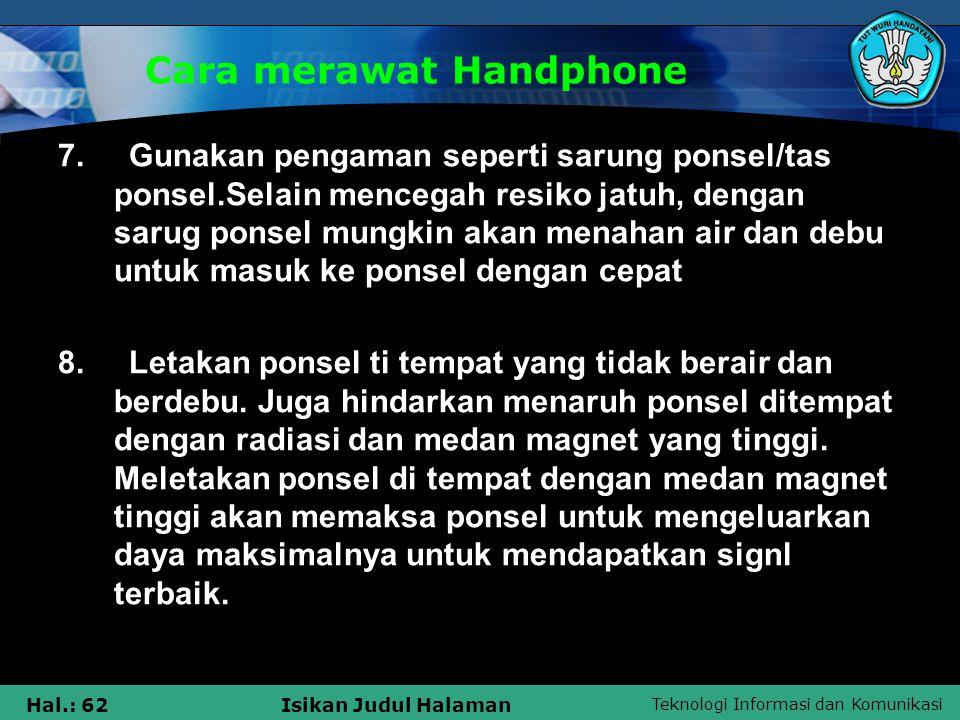 Cara merawat Handphone
