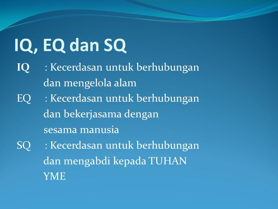IQ, EQ dan SQ IQ : Kecerdasan untuk berhubungan dan mengelola alam