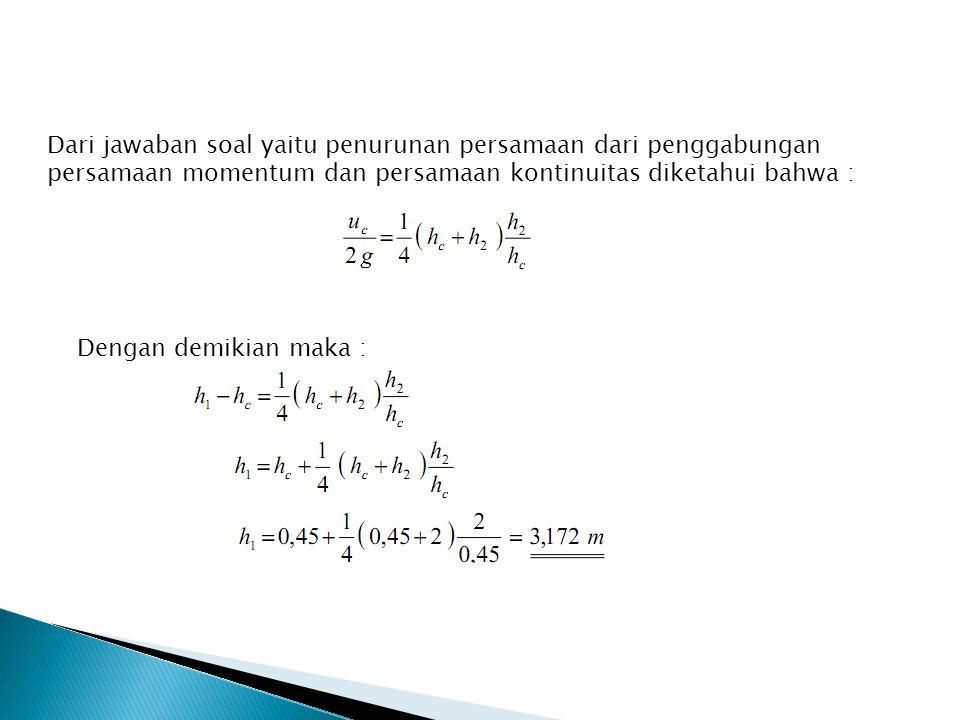 Dari jawaban soal yaitu penurunan persamaan dari penggabungan persamaan momentum dan persamaan kontinuitas diketahui bahwa :