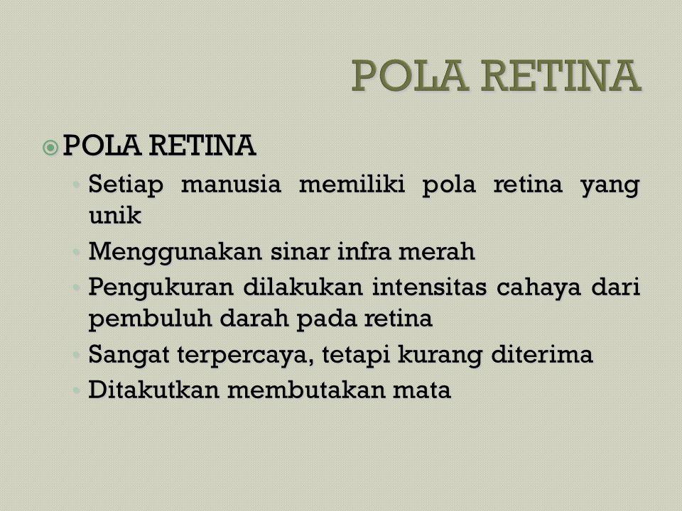 POLA RETINA POLA RETINA Setiap manusia memiliki pola retina yang unik