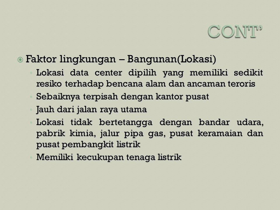 CONT' Faktor lingkungan – Bangunan(Lokasi)