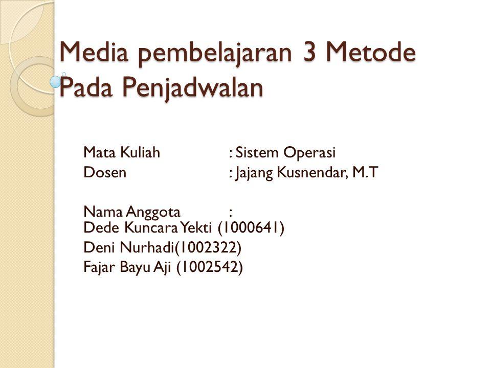 Media pembelajaran 3 Metode Pada Penjadwalan
