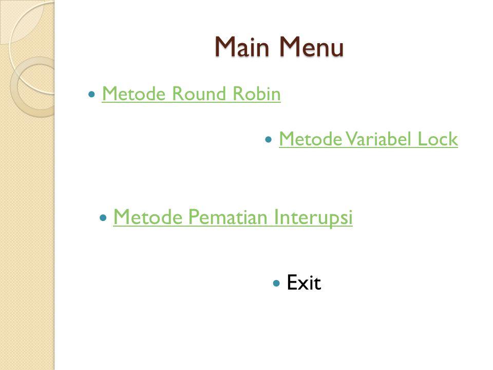 Main Menu Metode Pematian Interupsi Exit Metode Round Robin