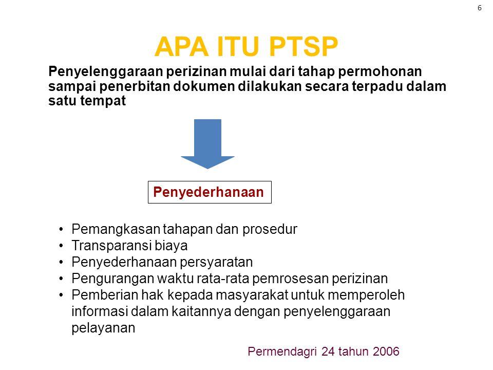 6 APA ITU PTSP. Penyelenggaraan perizinan mulai dari tahap permohonan sampai penerbitan dokumen dilakukan secara terpadu dalam satu tempat.