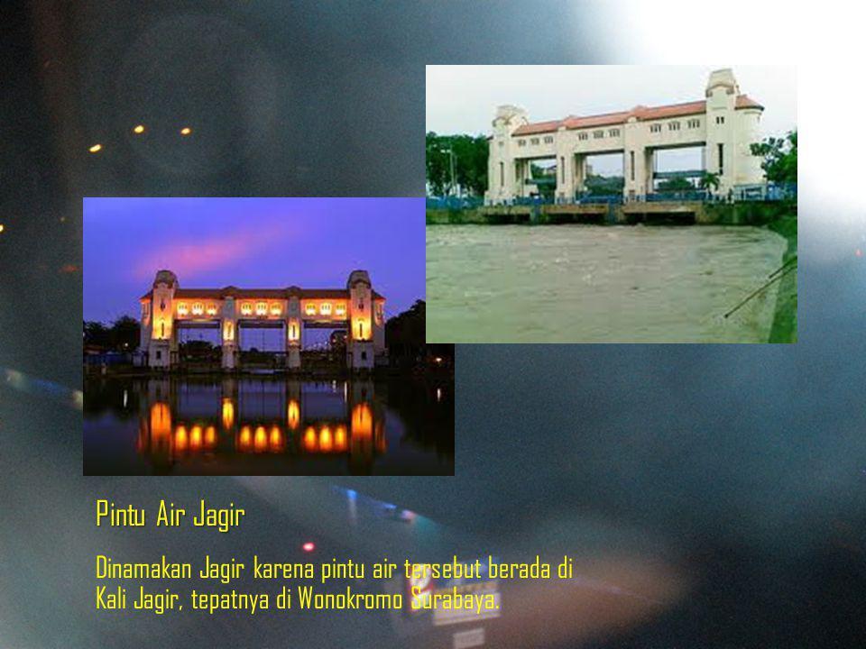 Pintu Air Jagir Dinamakan Jagir karena pintu air tersebut berada di Kali Jagir, tepatnya di Wonokromo Surabaya.