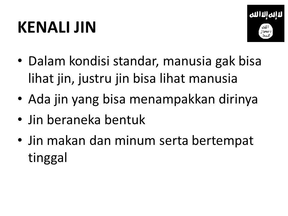 KENALI JIN Dalam kondisi standar, manusia gak bisa lihat jin, justru jin bisa lihat manusia. Ada jin yang bisa menampakkan dirinya.