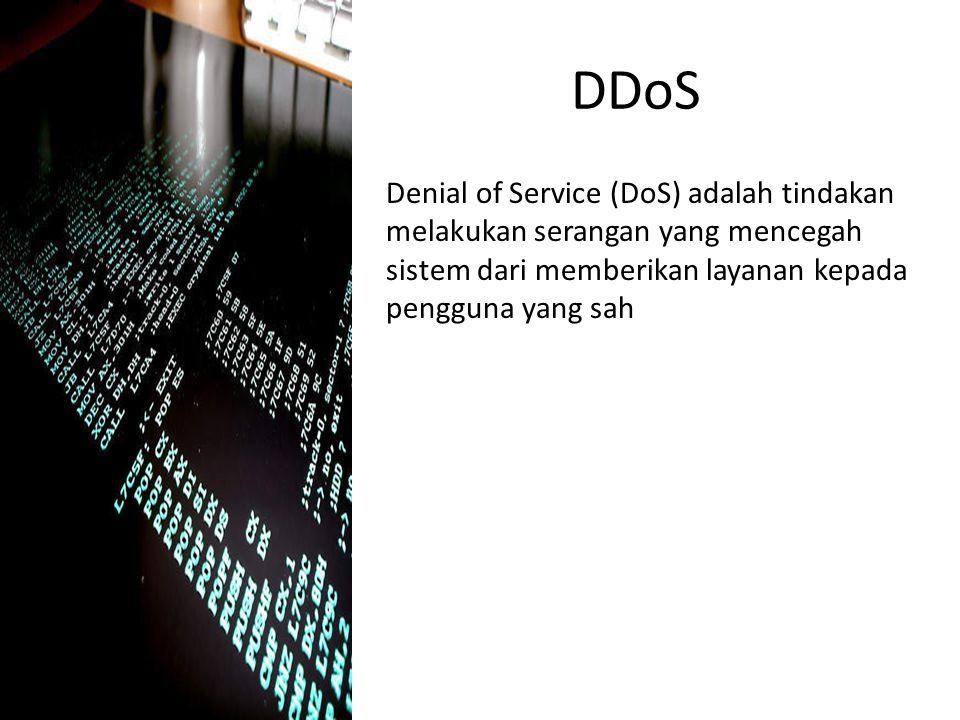 DDoS Denial of Service (DoS) adalah tindakan melakukan serangan yang mencegah sistem dari memberikan layanan kepada pengguna yang sah.