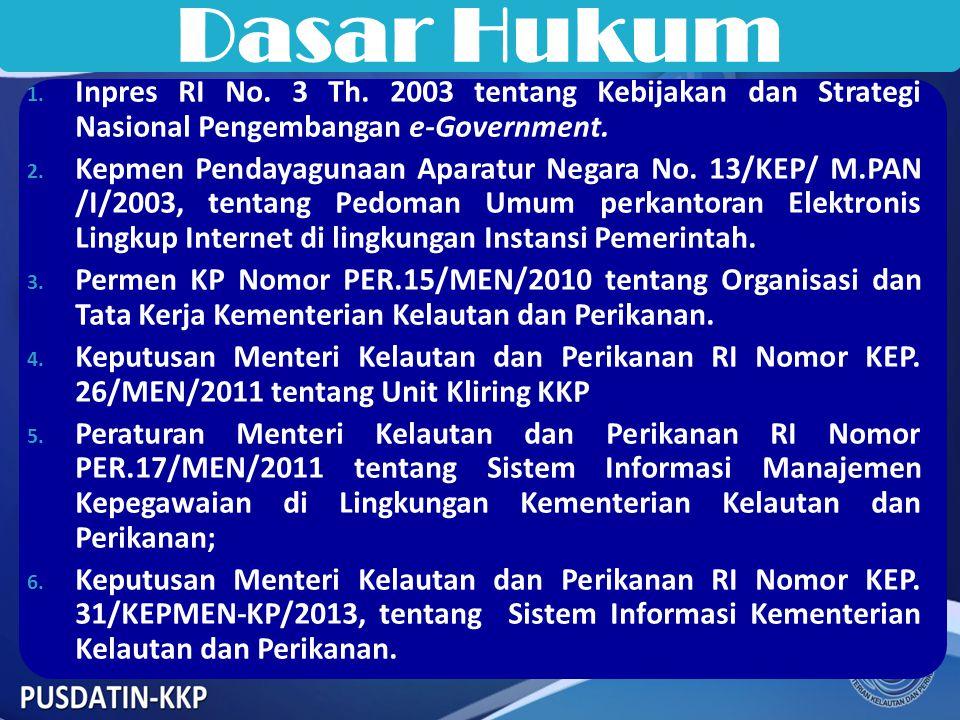 Dasar Hukum Inpres RI No. 3 Th. 2003 tentang Kebijakan dan Strategi Nasional Pengembangan e-Government.