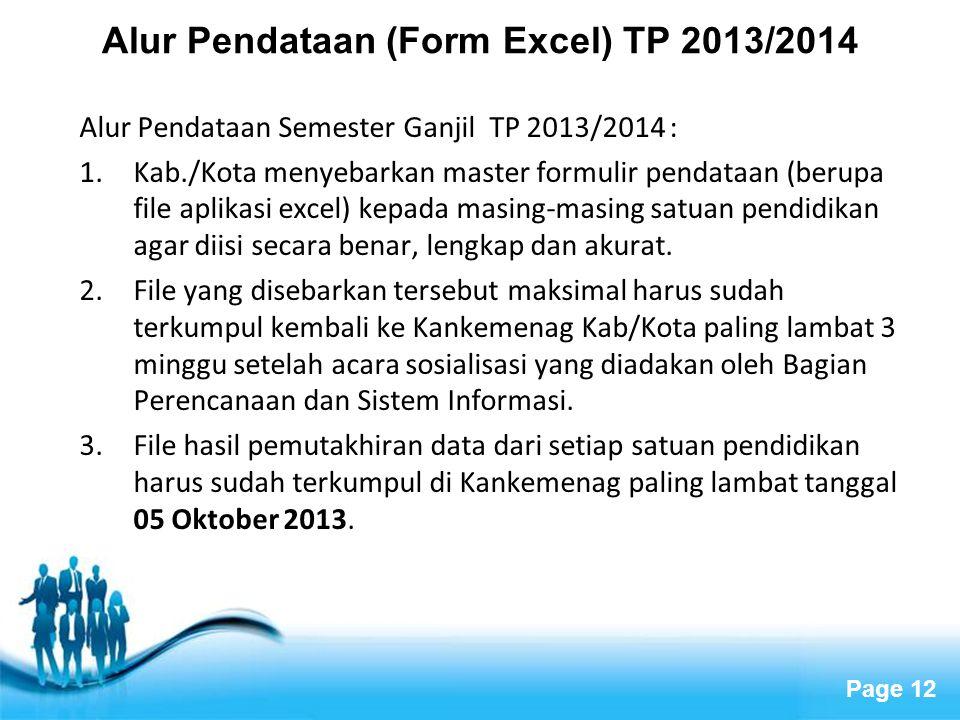 Alur Pendataan (Form Excel) TP 2013/2014