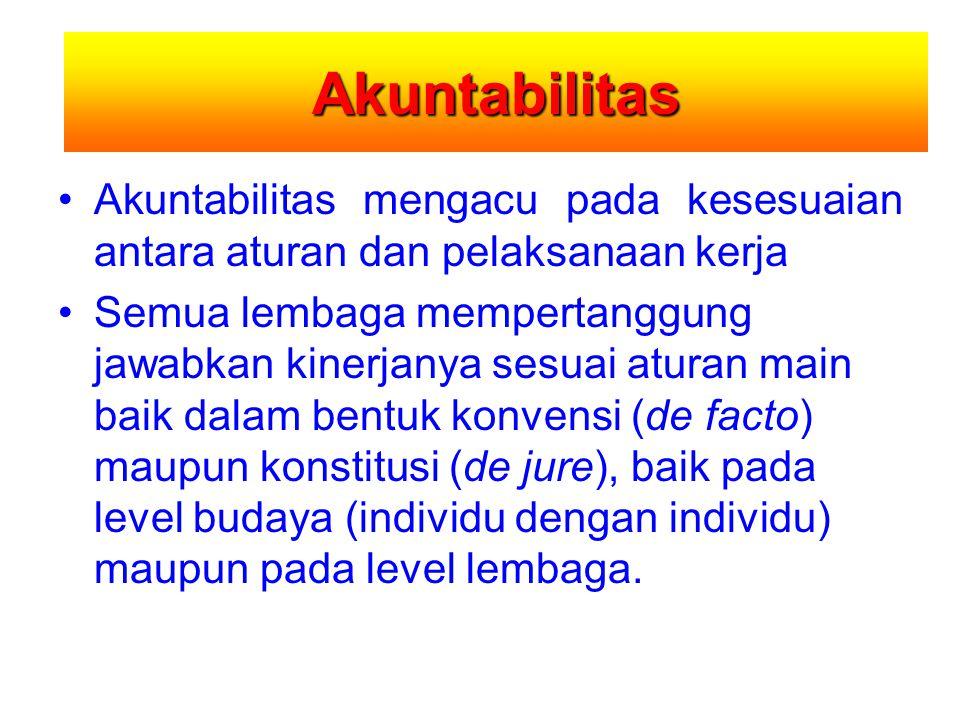 Akuntabilitas Akuntabilitas mengacu pada kesesuaian antara aturan dan pelaksanaan kerja.