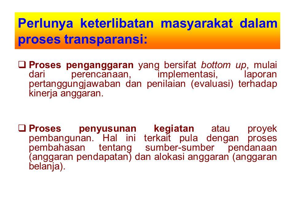 Perlunya keterlibatan masyarakat dalam proses transparansi: