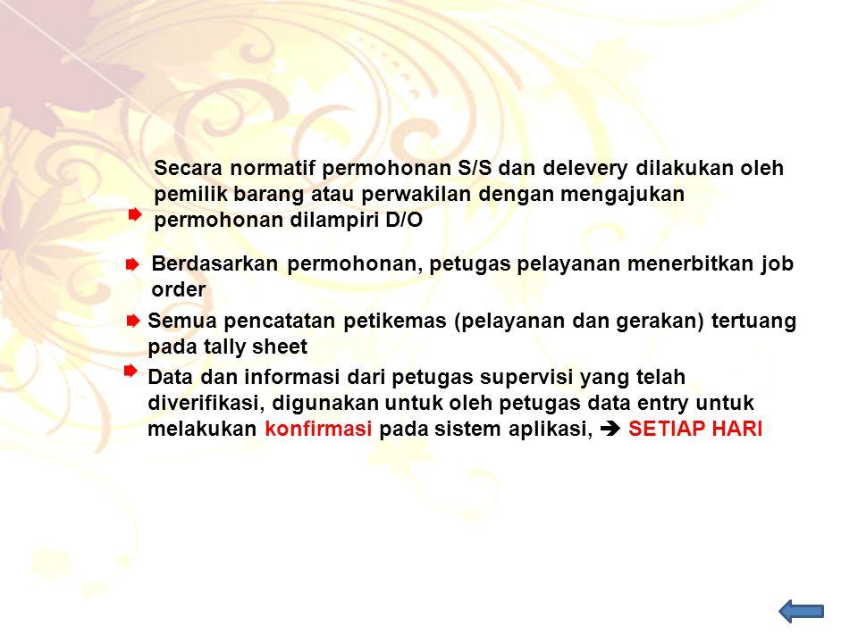 Secara normatif permohonan S/S dan delevery dilakukan oleh pemilik barang atau perwakilan dengan mengajukan permohonan dilampiri D/O