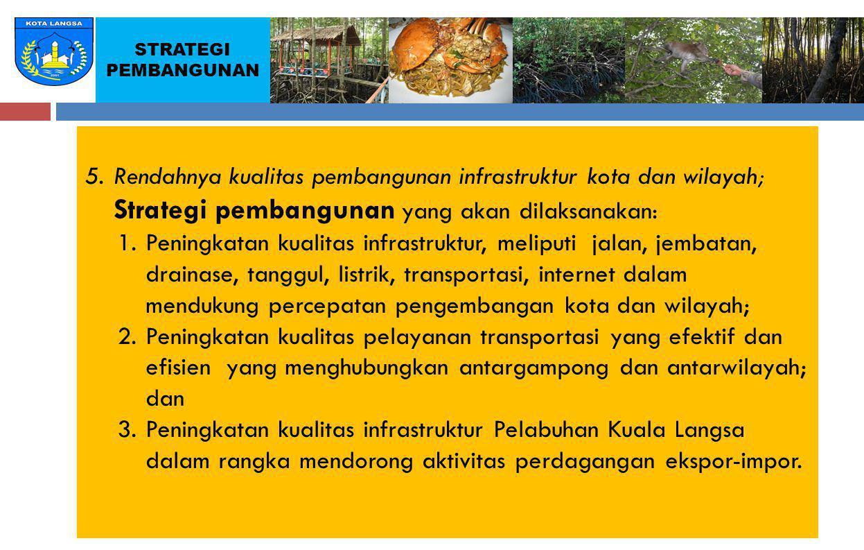 5. Rendahnya kualitas pembangunan infrastruktur kota dan wilayah;