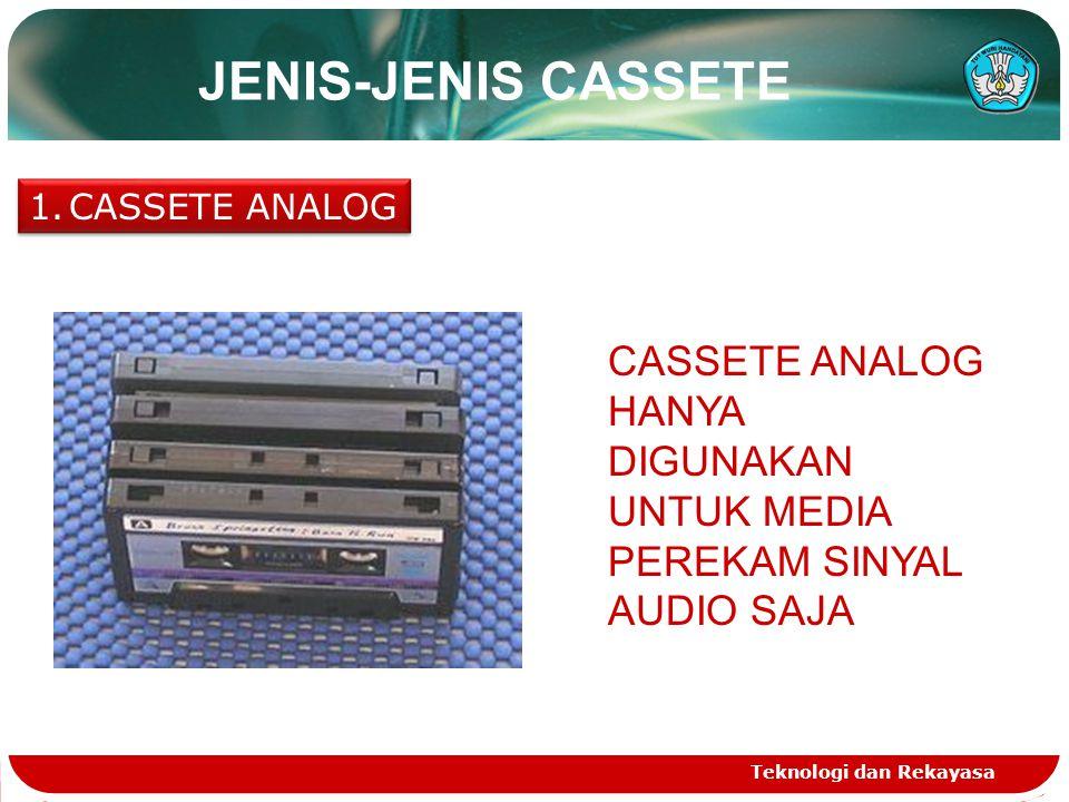 JENIS-JENIS CASSETE CASSETE ANALOG. CASSETE ANALOG HANYA DIGUNAKAN UNTUK MEDIA PEREKAM SINYAL AUDIO SAJA.