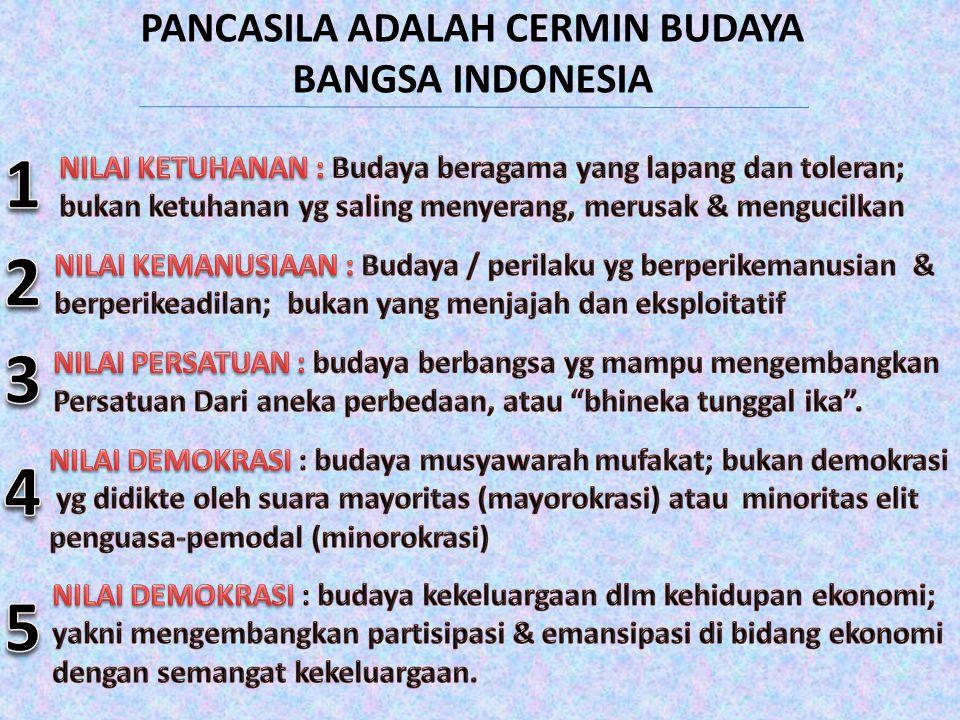 PANCASILA ADALAH CERMIN BUDAYA BANGSA INDONESIA