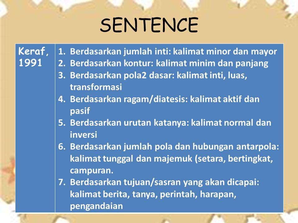 SENTENCE Keraf, 1991 Berdasarkan jumlah inti: kalimat minor dan mayor