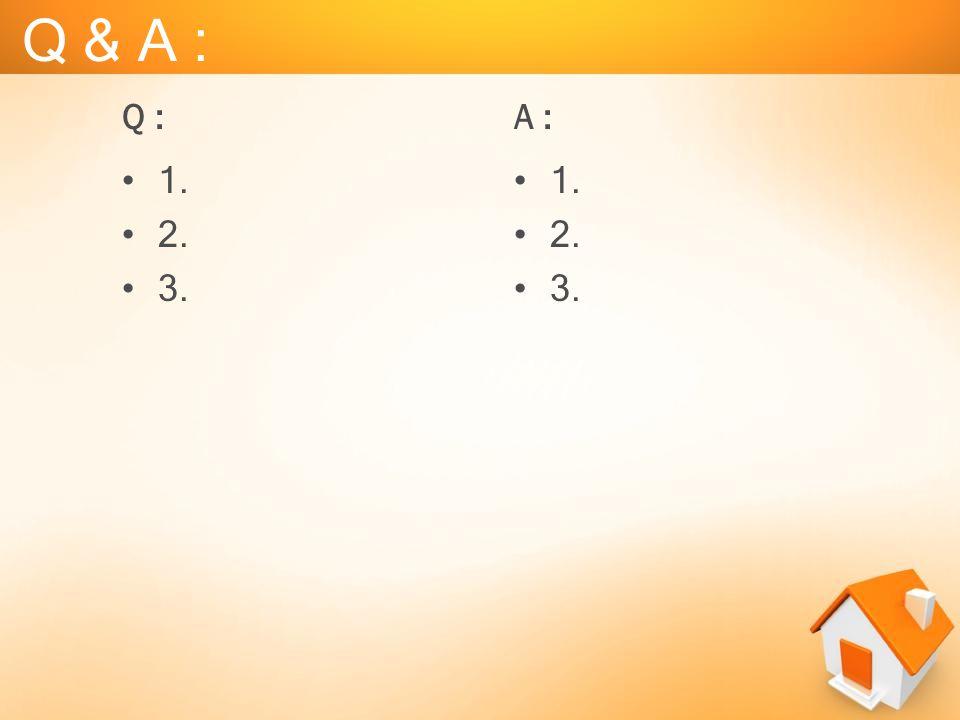 Q & A : Q : A : 1. 2. 3. 1. 2. 3.