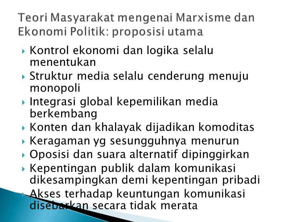 Teori Masyarakat mengenai Marxisme dan Ekonomi Politik: proposisi utama
