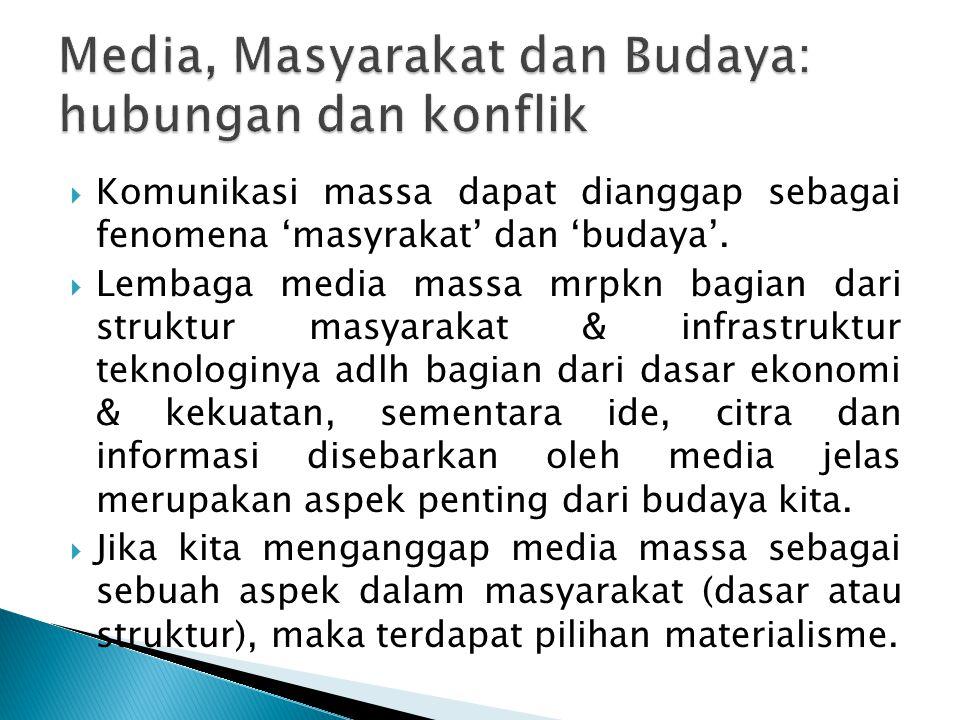 Media, Masyarakat dan Budaya: hubungan dan konflik