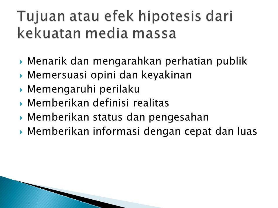Tujuan atau efek hipotesis dari kekuatan media massa