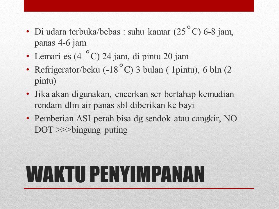 Di udara terbuka/bebas : suhu kamar (25˚C) 6-8 jam, panas 4-6 jam