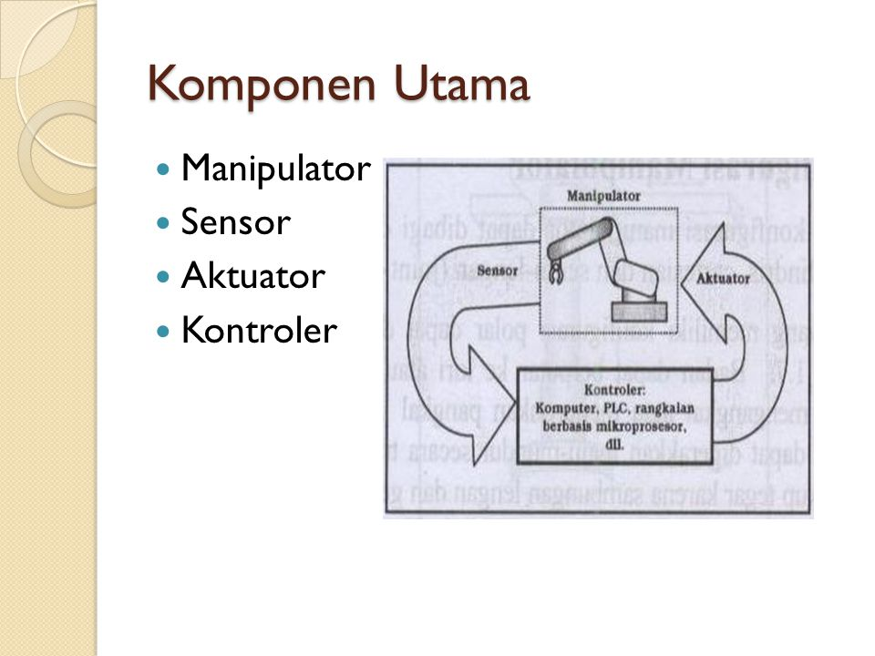 Komponen Utama Manipulator Sensor Aktuator Kontroler